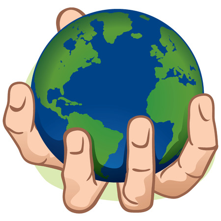 Character hand holding the planet Earth. Caucasian. Ideal for informational and institutional