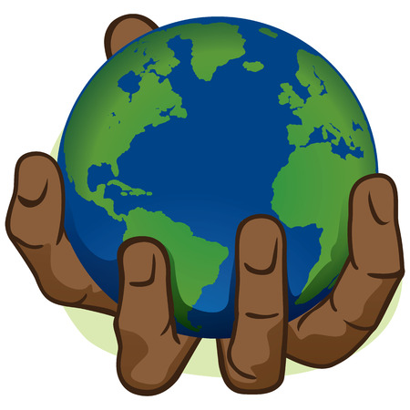 african descent: Character hand holding the planet Earth. African descent. Ideal for informational and institutional