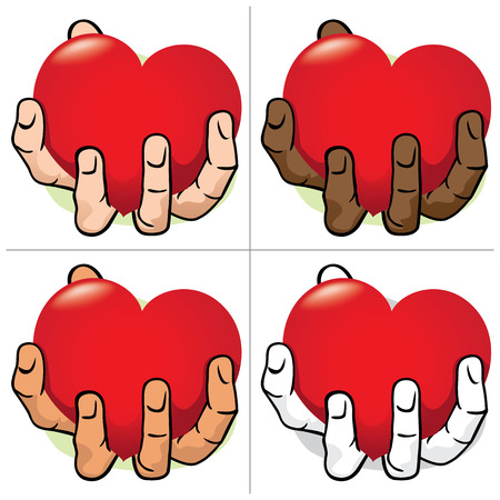 Illustration hand holding a heart, ethnic. Ideal for institutional and romantic materials