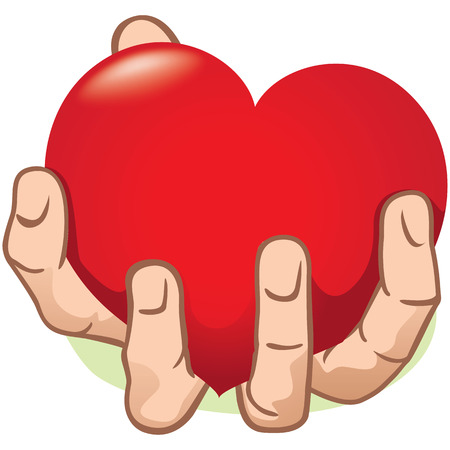 strengthen hand: Illustration hand holding a heart, caucasian. Ideal for institutional and romantic materials Illustration