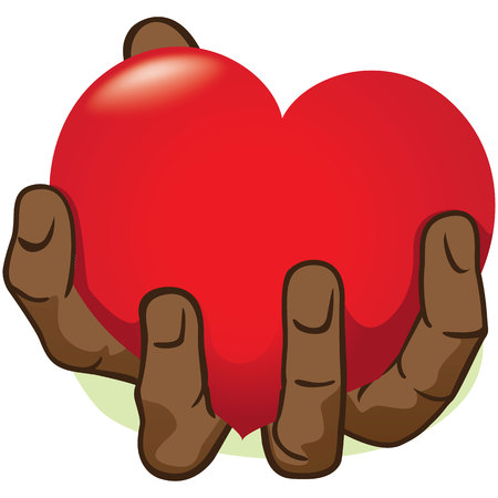 strengthen hand: Illustration hand holding a heart, African descent. Ideal for institutional and romantic materials
