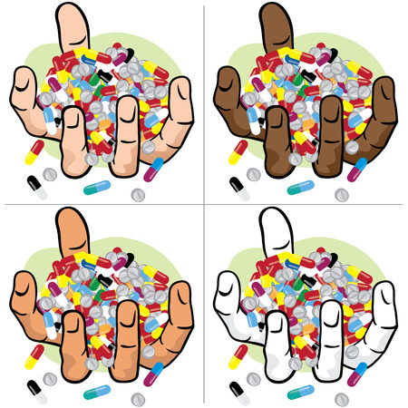 overdose: Illustration hands holding many medicines, ethnic. Ideal for catalogs, informational and institutional materials
