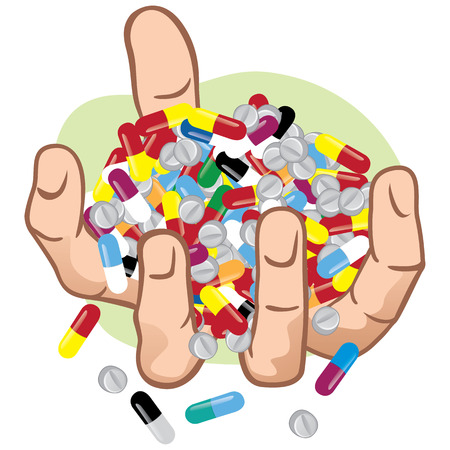 overdose: Illustration of hands holding many medicines, caucasian. Ideal for catalogs, informational and institutional materials