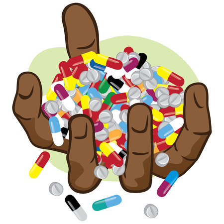validez: Ilustración de las manos que sostienen muchos medicamentos ascendencia africana. Ideal para catálogos, materiales de información y institucionales Vectores
