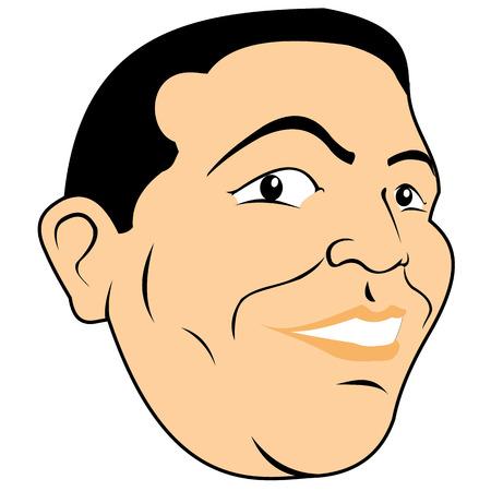 persona feliz: cara de la cabeza de la ilustración de la persona de un hombre feliz sonriendo carácter gordito. Ideal para materiales institucionales Vectores
