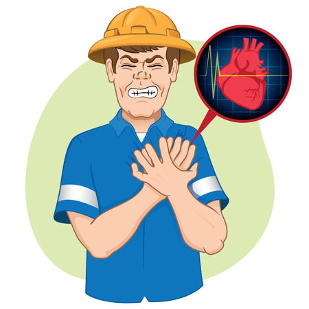 Illustration is first aid, employee suffering a heart attack, CPR. Ideal for relief tutorials and medical manuals