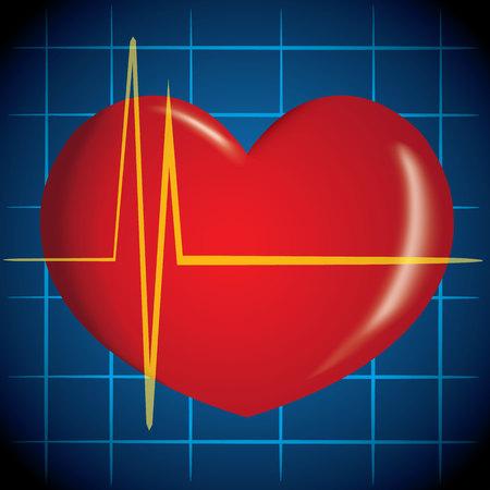 convulsión: La ilustración es de primeros auxilios, icono del corazón, infarto de miocardio, la RCP. Ideal para tutoriales de ayuda y manuales de medicina
