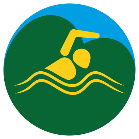 institutional: Illustration Represents the pictogram practicing swimming, materials, sports and institutional