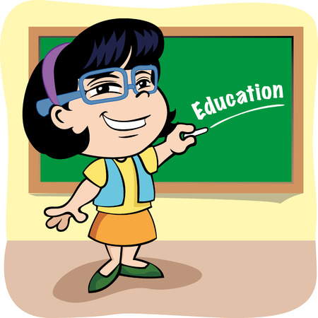 Illustration is a Person teacher writing on the blackboard in school class. ideal for educational materials and institutional Illustration