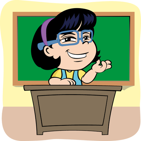 school class: Illustration is a Person teacher sitting at the table in school class. ideal for educational materials and institutional