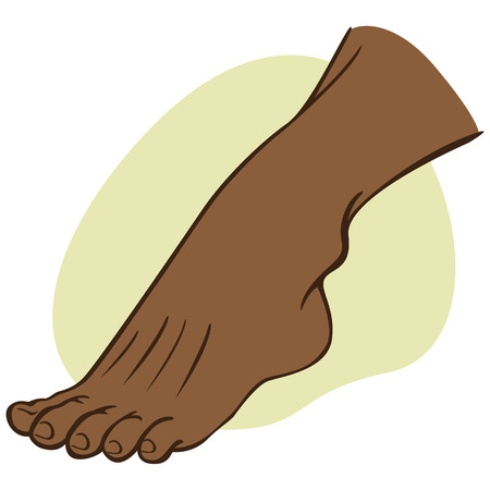 podiatrist: Individual human foot. African descent. Ideal for catalogs, informational and institutional guides Illustration