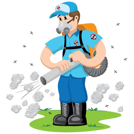 Personne exterminateur avec de la fumée, Aedes aegypti échasses. Idéal pour l'assainissement et les soins liés d'information et institutionnel Banque d'images - 57789325