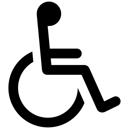 Icon pictogram wheelchair physical deficient. Ideal for catalogs, informational and institutional materials