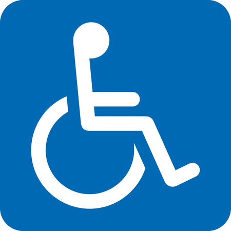 bathroom cartoon: Icon pictogram wheelchair physical deficient. Ideal for catalogs, informational and institutional materials