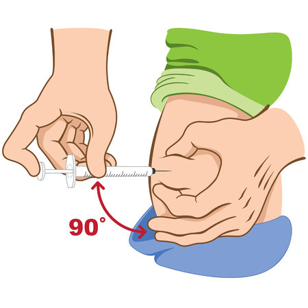 diabetes syringe: Person applying injection in the hip, lower back, waist sitting in the chair, may BOTH be for the treatment of diabetes or sclerosis
