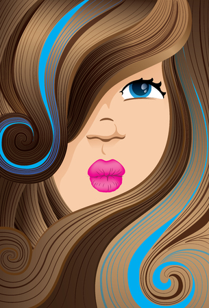 female face covered with curly hair and brown curly locks with. Ideal for institutional equipment and fashion Illustration