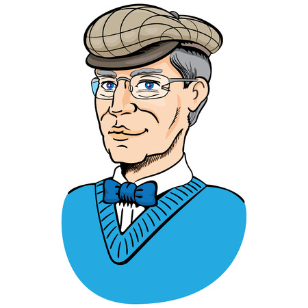 educational materials: Bust of an old man with beret and glasses, 60s style Ideal for institutional and educational materials