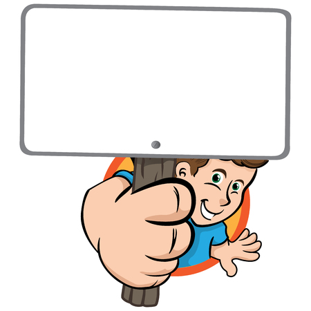 charismatic: Person man showing a sign warning message. Ideal for institutional material, educational and promotional