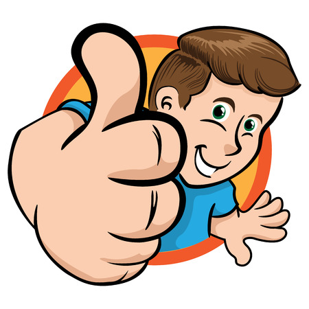 validated: Person man in perspective making positive sign with his thumb in a circle. Ideal for institutional material, educational and promotional Illustration