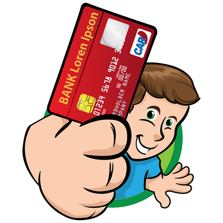 Person man showing credit card for payment. Ideal for institutional material, educational and promotional