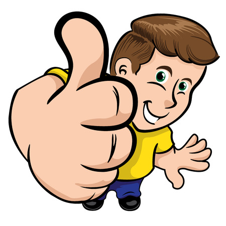 institutional: Person man in perspective making positive sign with his thumb. Ideal for institutional material, educational and promotional