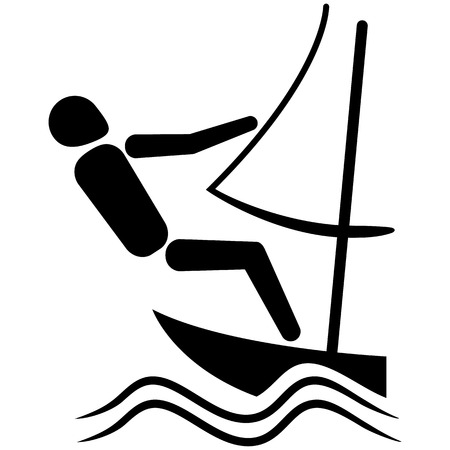medalist: This is sport pictogram, sailing sport, games. Ideal for materials on sport and institutional