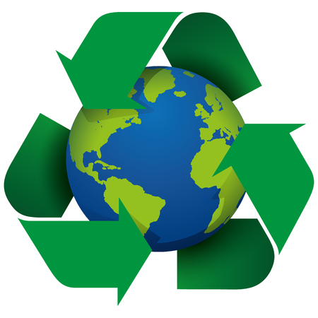 Illustration icon recycling symbol embracing the world. Ideal for catalogs, informative and recycling guides