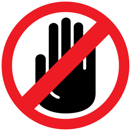 touch: Icon, sign board forbidden to touch, do not take. Ideal for informational and institutional