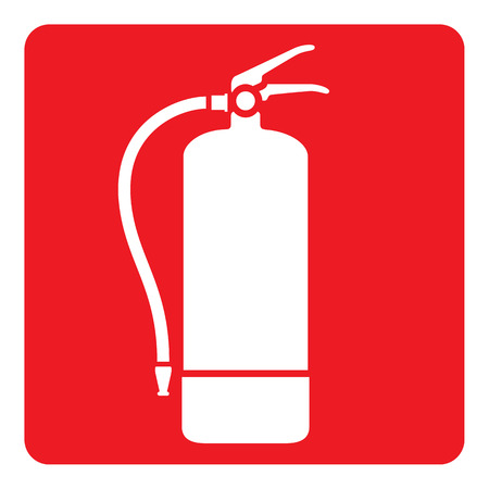 caustic: Pictogram red signaling, fire extinguisher. Ideal for visual communication materials and safety and fire prevention