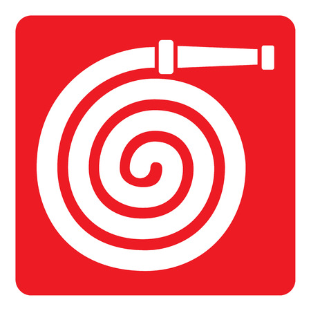 catalyst: Pictogram red signaling, fire hose. Ideal for visual communication materials and safety and fire prevention