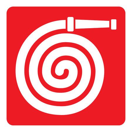 Pictograma de señalización roja, manguera de bomberos. Ideal para materiales de comunicación visual y la seguridad y prevención de incendios Foto de archivo - 59714336