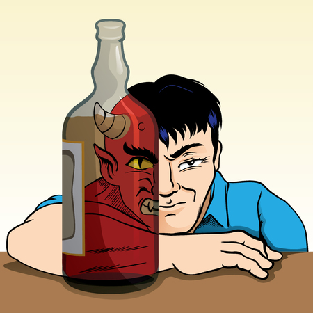alter: drunk person turning into a demon because of alcohol, through the alcoholic drinks and can see the alter ego of man. Ideal for awareness campaigns Illustration