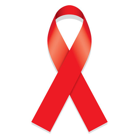 educational materials: Icon symbol of the fight against AIDS and conscientization, red ribbon. Ideal for educational materials and information Illustration