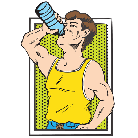 Illustration representing man athlete drinking water and moisturizing, pop art style. Ideal for catalogs, information and medical guides