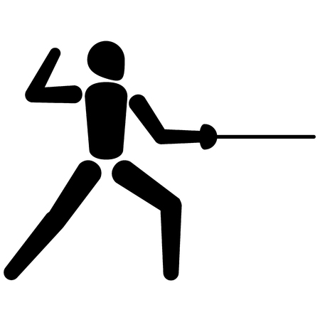 This is sport pictogram, fencing sport, games. Ideal for materials on sport and institutional