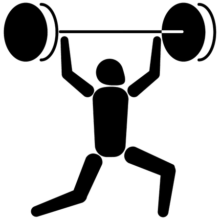 iconography: This is sport pictogram, weightlifting sport, games. Ideal for materials on sport and institutional