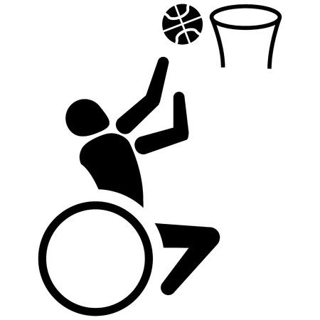 Ce pictogramme est le sport, le basket-ball pour les fauteuils roulants, jeux. Idéal pour les matériaux sur le sport et institutionnel Banque d'images - 61060734
