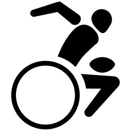 This is sport pictogram, rugby is wheelchair, games. Ideal for materials on sport and institutional Illustration