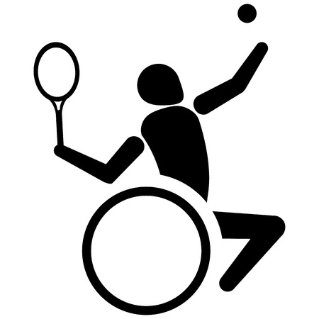 This is sport pictogram, tennis to wheelchair, games. Ideal for materials on sport and institutional