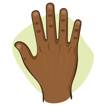 educational materials: Illustration is body art, hand open top view, afrodescendant. Ideal for educational materials and institutional