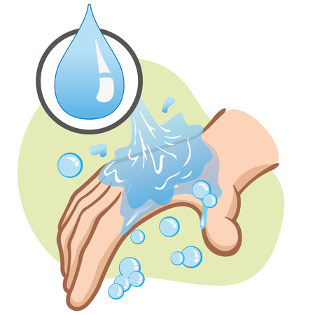 educational materials: Illustration of a caucasian person washing hands hygiene and cleanliness. Ideal for educational materials and institutional Illustration