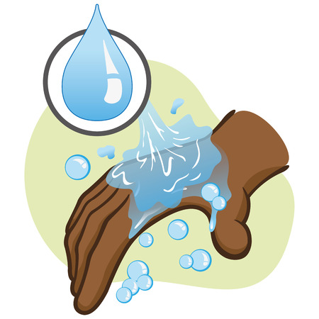 cleanliness: Illustration of afrodescendant person washing hands hygiene and cleanliness. Ideal for educational materials and institutional