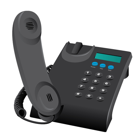 Illustration is a desk phone object wired. Ideal for catalog and institutional materials