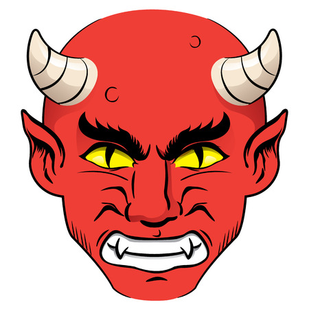 cursed: Illustration of the head of a demon, red with a nervous guy with horns and yellow eyes. Ideal for institutional and religious materials