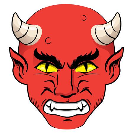 cuernos: Ilustración de la cabeza de un demonio, rojo con un chico nervioso con cuernos y ojos amarillos. Ideal para materiales institucionales y religiosos Vectores