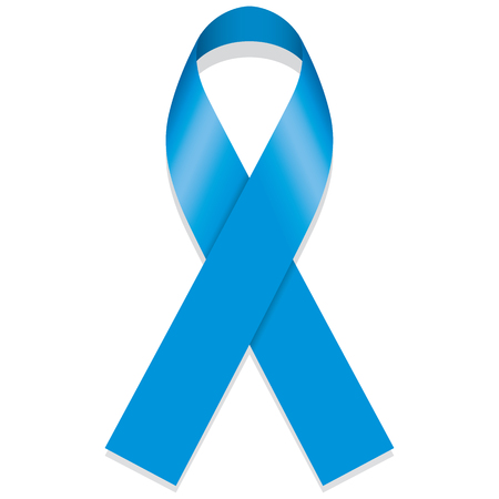 thyroid cancer: Icon symbol of struggle and awareness, blue ribbon. Ideal for educational materials and information Illustration