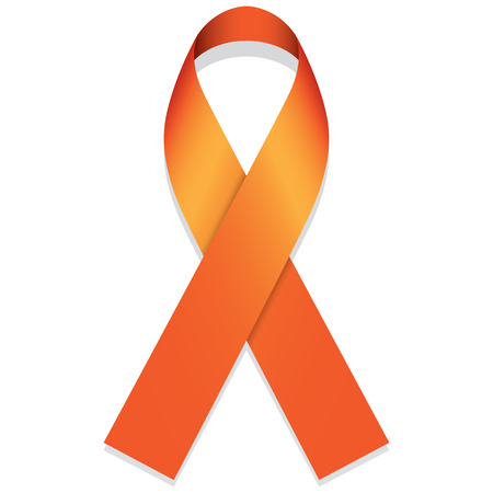 multiple sclerosis: Icon symbol of the fight and awareness, orange ribbon. Ideal for educational materials and information