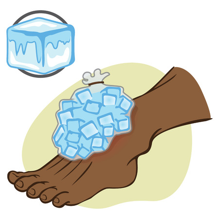 curative: Illustration First Aid African-descendant person standing with ice pack. Ideal for catalogs, information and medical guides