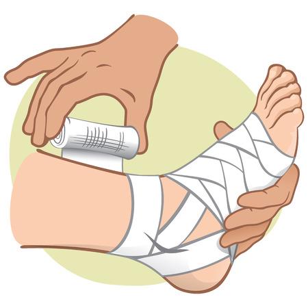 Ilustración persona de primeros auxilios caucásico, de pie vista lateral, vendar los pies. Ideal para catálogos, información y guías médicas