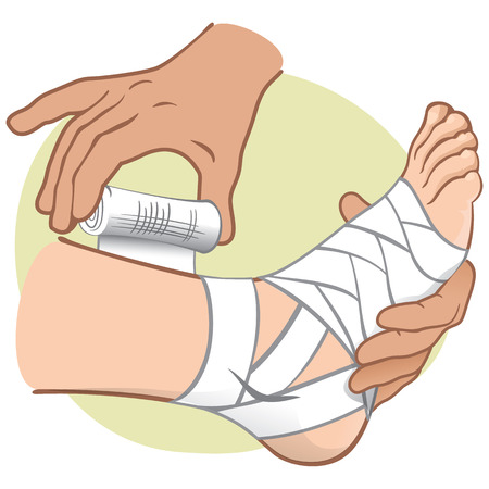 Illustration First Aid person caucasian, standing side view, bandaging the foot. Ideal for catalogs, information and medical guides Vectores